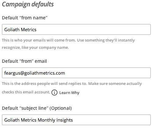 Change List Name and Defaults | MailChimp