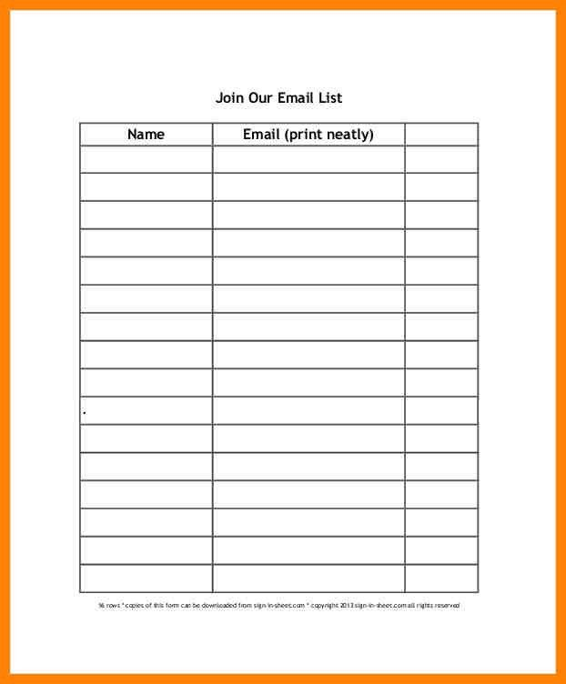Beautiful Sign Up List Template Contemporary - Best Resume ...