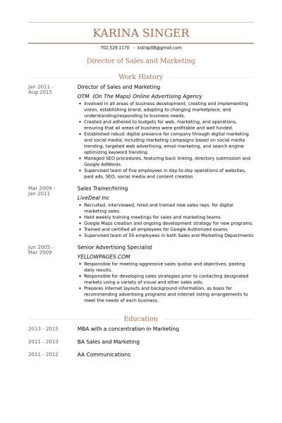 Director Of Sales And Marketing Resume samples - VisualCV resume ...