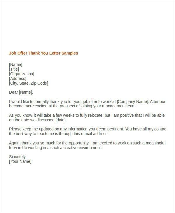 Writing Job Offer Thank You Letter. Job Offer Email Letter 7+ Job ...