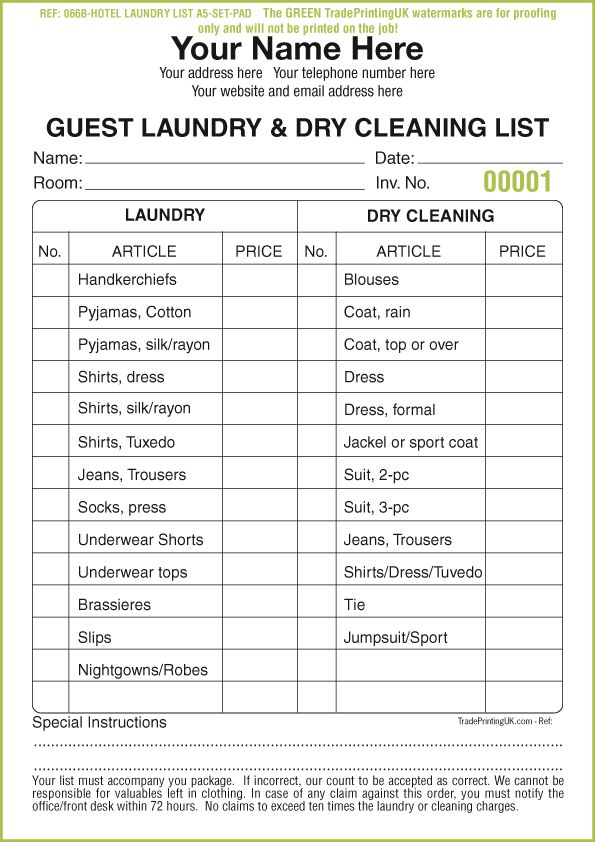 DRY CLEANING Receipt Pads template | LAUNDRY Receipt Pads