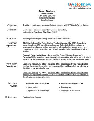 Teaching Resume Templates - Template Examples