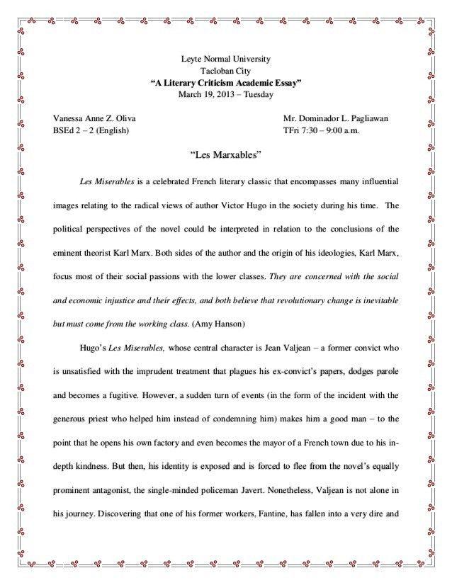 Les Miserables Critical Analysis (Literary Criticism: Marxism)