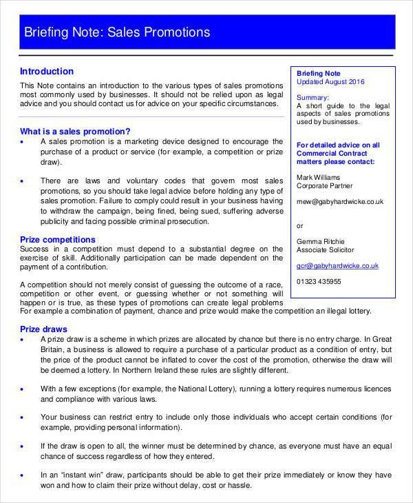 3+ Sales Note Templates - Free Samples, Examples Format Download ...