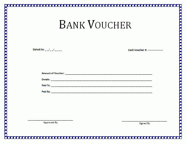 Bank Voucher Template | Formsword: Word Templates & Sample Forms