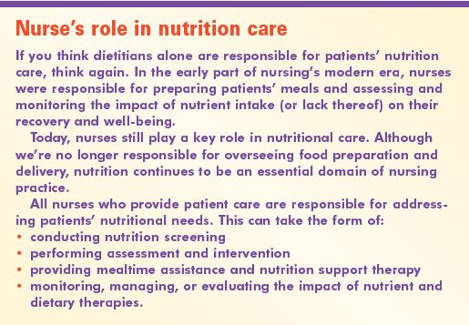 Six steps to optimal nutrition care - American Nurse Today