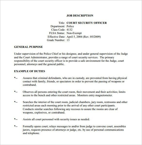 Security Officer Job Description Template – 13+ Free Word, PDF ...