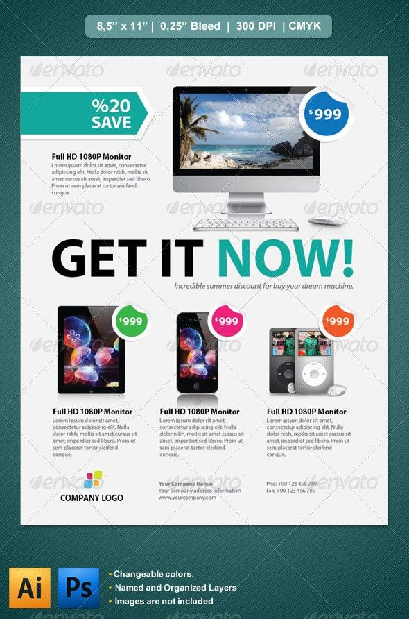Product Flyer | Photoshop fonts, Print templates and Fonts