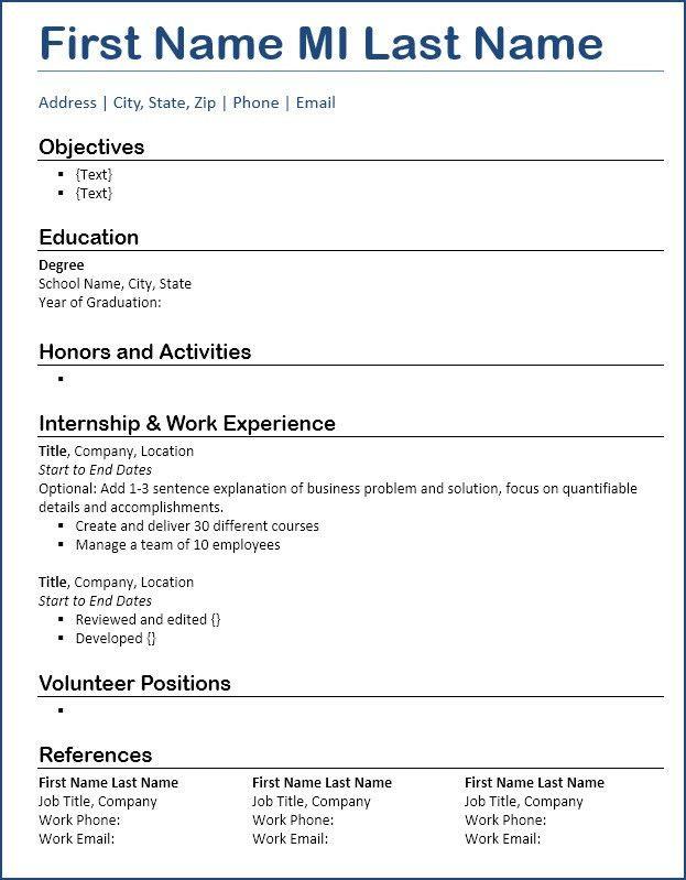 Resume Template Free Download - Entry-level Focus + Blue Underline