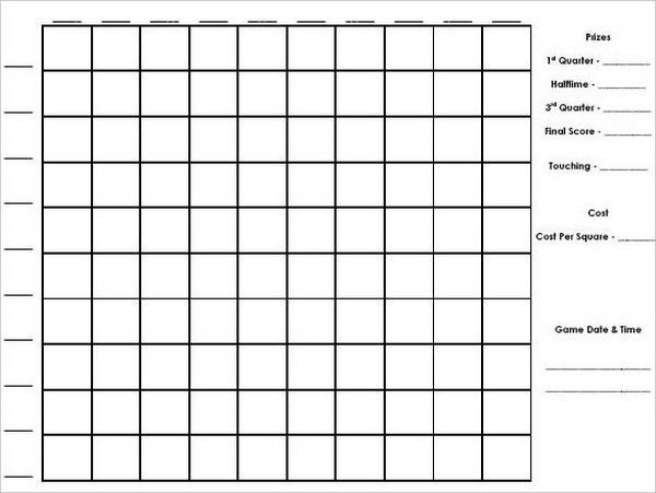 Free Football Squares Template. free football and super bowl ...