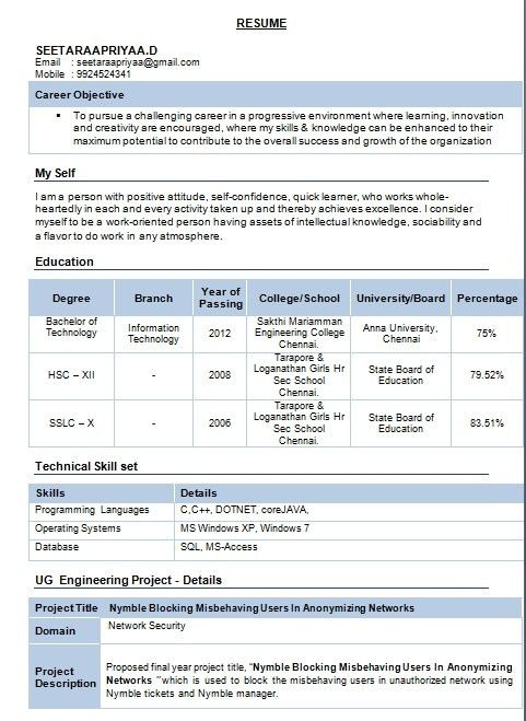 Free Download Resume Format For Mechanical Engineers. resume ...