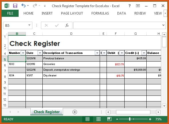 excel checkbook register | general resumes
