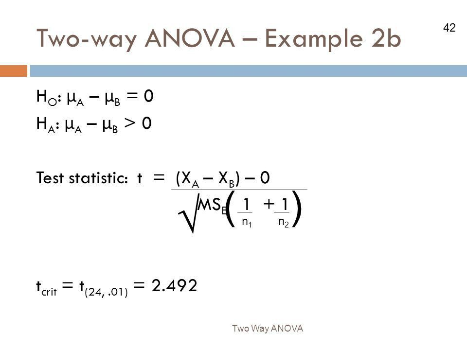 The Two-way ANOVA We have learned how to test for the effects of ...