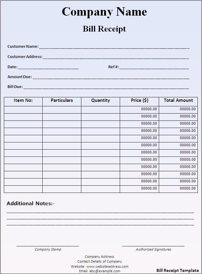 Bill Receipt Template - Word Excel PDF