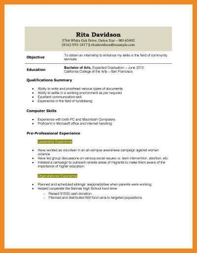 resume template for high school student with no work experience ...