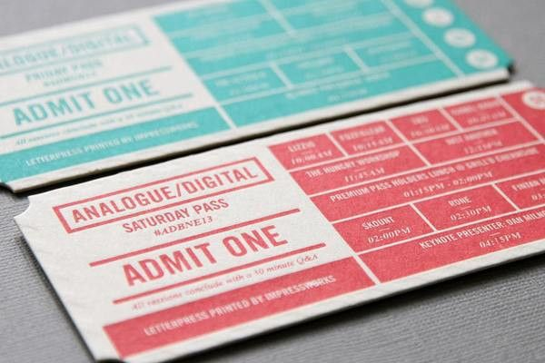 Analogue/Digital Creative Conferences Event Ticket by Impressworks ...