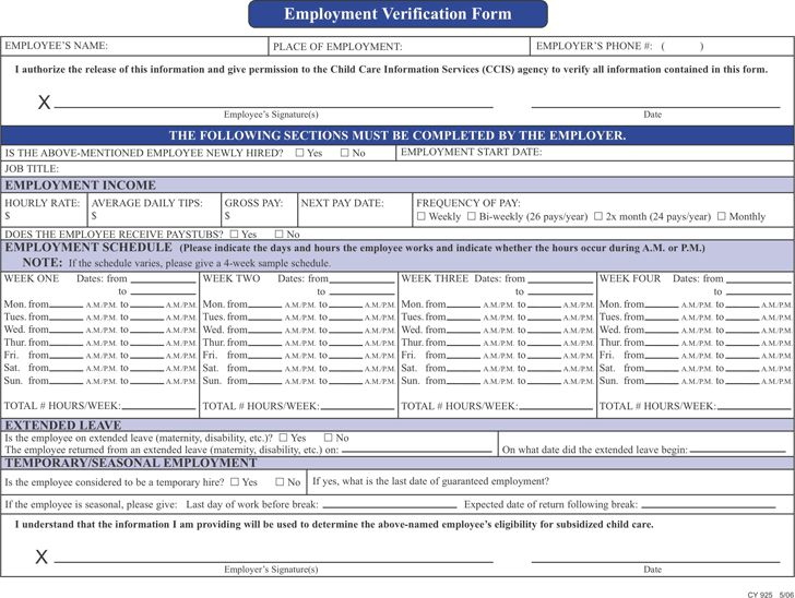 Doc.#685951: Free Employment Verification Form – Free Employment ...