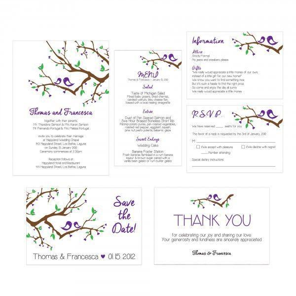 Love Birds Wedding Invitation Do-It-Yourself Printable Template