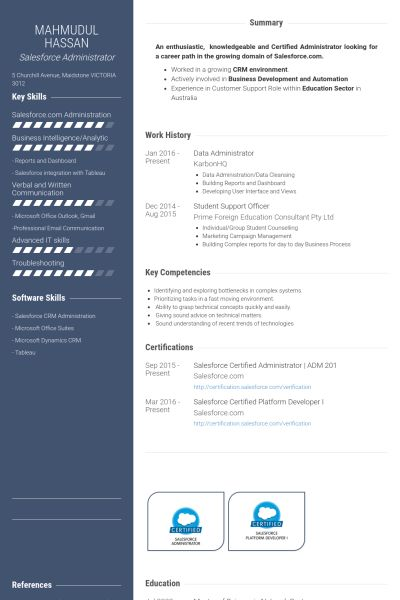 Administrator Resume samples - VisualCV resume samples database