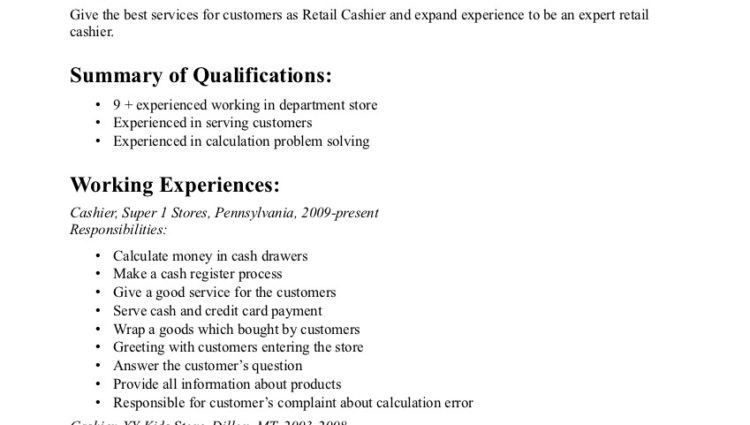 retail cashier resume objective example summary of qualifications ...