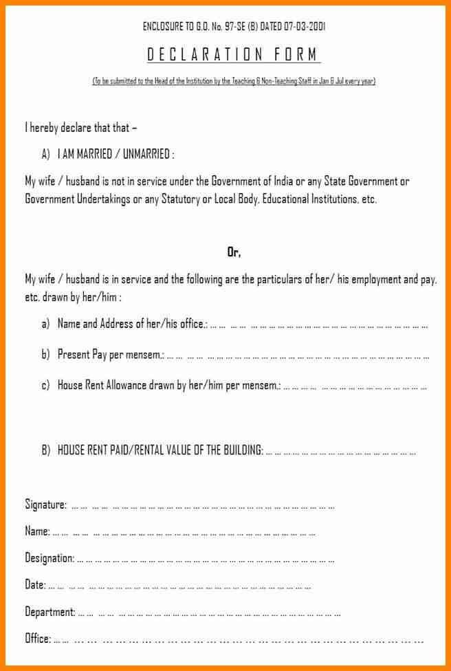 7+ declaration form format - mail clerked