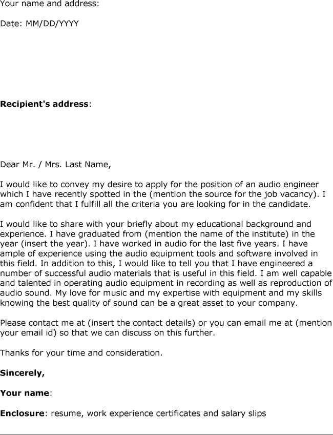 Audio engineering cover letter examples - Maven