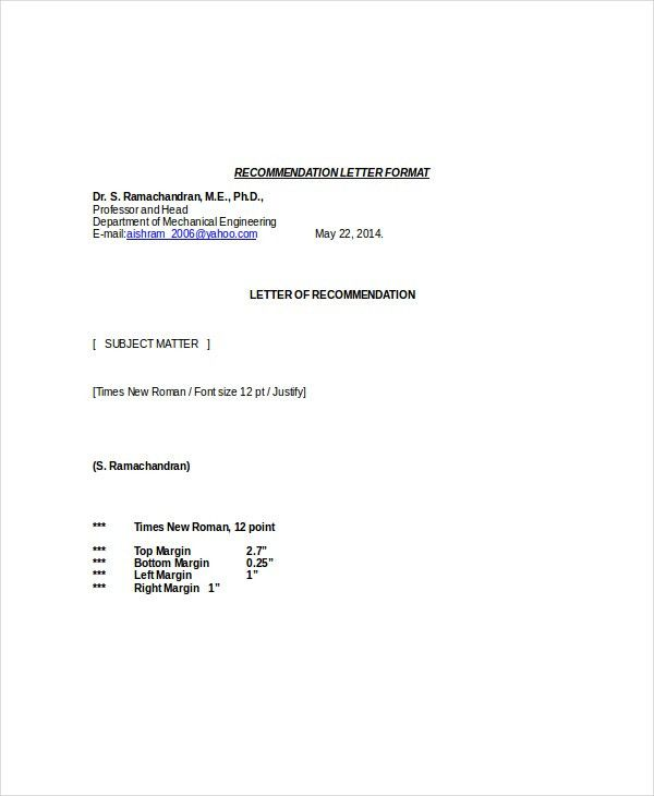 Letter Of Recommendation Format - 12+ Free Word, PDF Documents ...