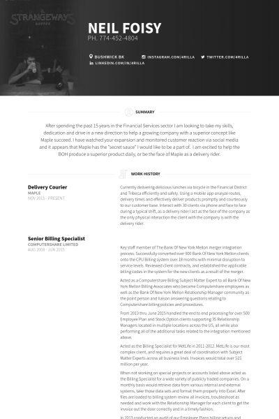 Courier CV Örneği - VisualCV Özgeçmiş Örnekleri Veritabanı