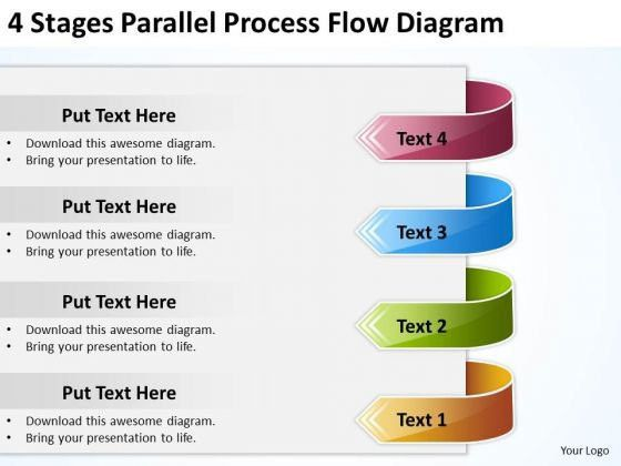 4 Stages Parallel Process Flow Diagram Template For Business Plan ...