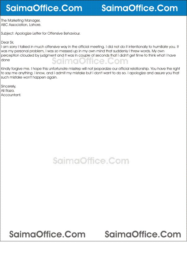 Apologize Letter for Mistake Sample
