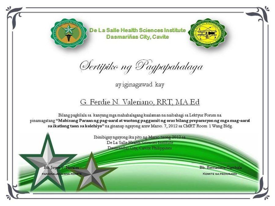 Certificate of Appreciation(own made) Tagalog by clgenesis on ...