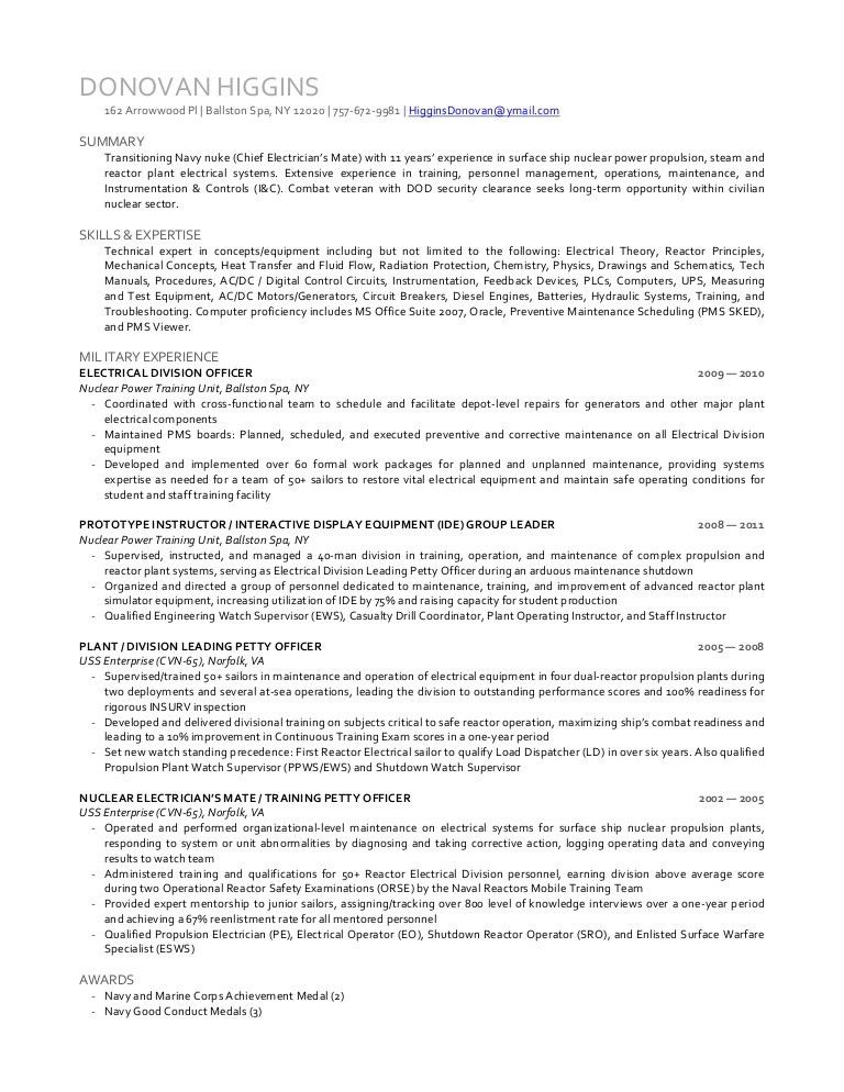 Download Navy Nuclear Engineer Sample Resume ...