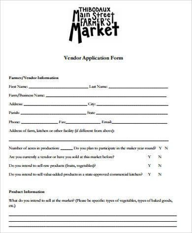 Vendor Application Template  Free Word Pdf Documents