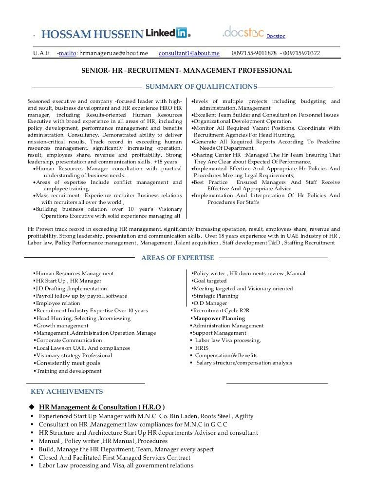 Resume hr manager -consultant -mba 18 years--