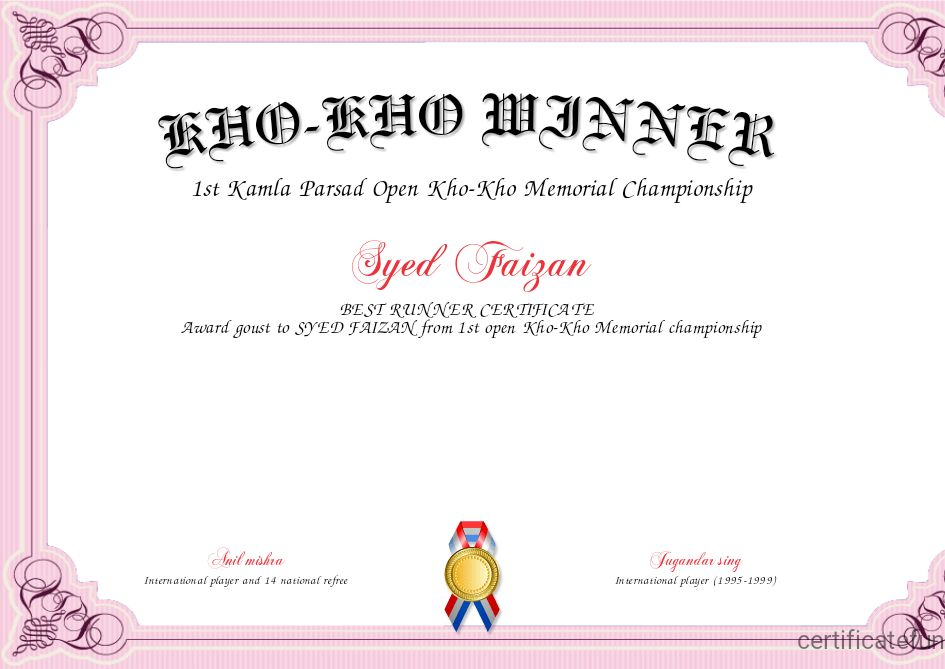 KHO-KHO WINNER Certificate | Created with Certificatefun.com