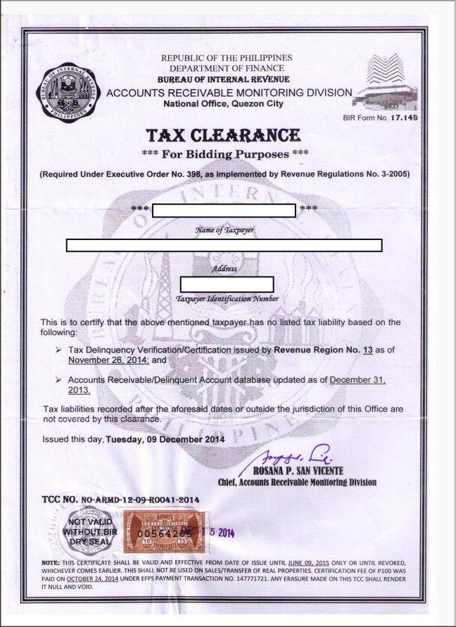 BIR TAX CLEARANCE Corporation) – Requirements – onestepahead470