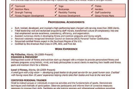Personal Trainer Resume Sample Entry - Reentrycorps