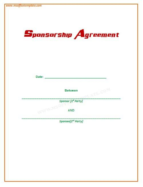 Microsoft Office TemplatesSponsorship Agreement