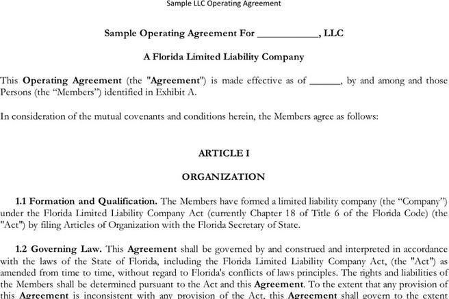 Sample Operating Agreement. Mad Real Estate Investor Business Plan ...