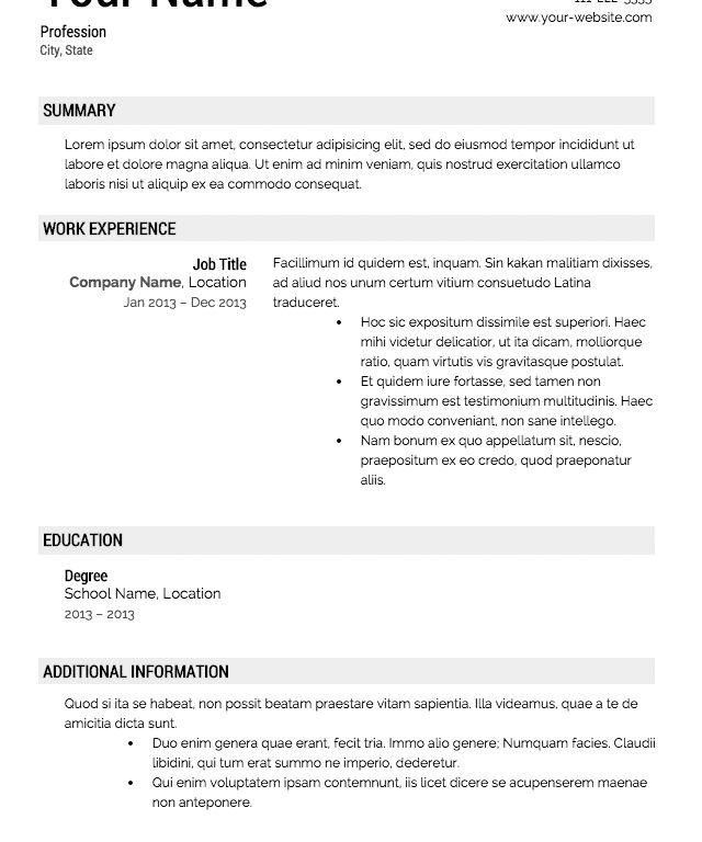 Enjoyable Ideas Templates For Resumes 4 Free Resume - CV Resume Ideas