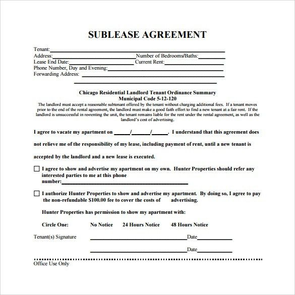 Sublease Agreement   16+ Download Free Documents In PDF, Word