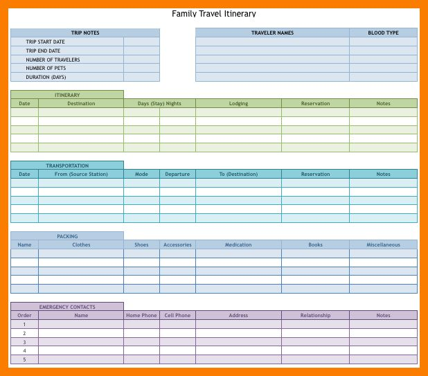 12+ vacation planner template | park-attendant