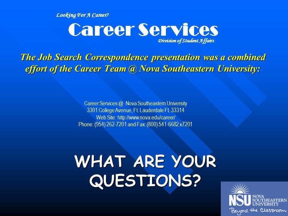 Writing Job Correspondence Career Services Nova Southeastern ...