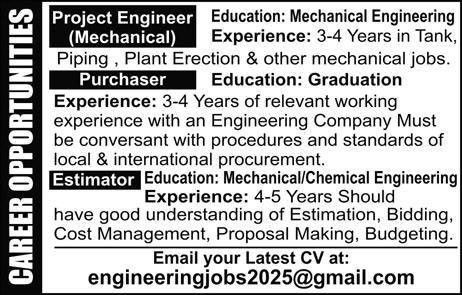 Project Engineer, Purchaser & Estimator Jobs, 27-Aug-2017