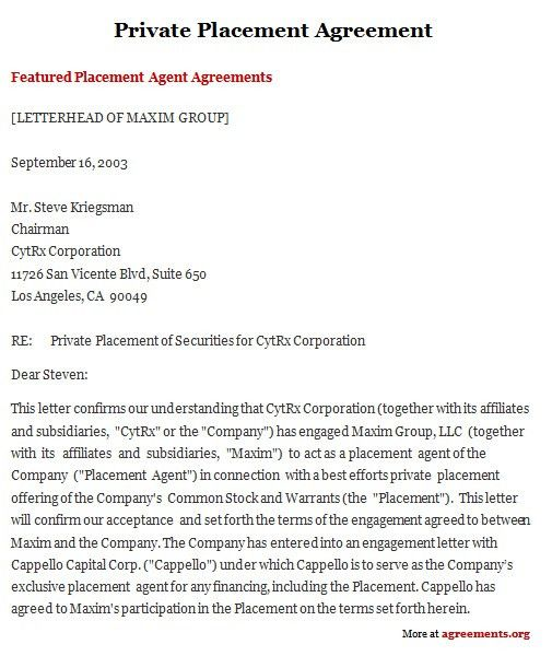 Private Placement Agreement, Sample Private Placement Agreement ...