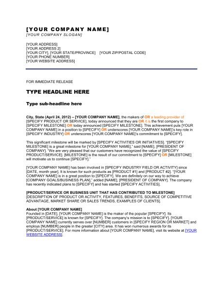 Press Release Company Has Completed a Merger - Template & Sample ...