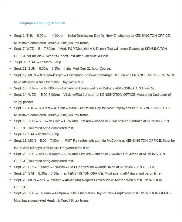Employee Training Schedule Templates - 7+ Free Word, PDF Format ...