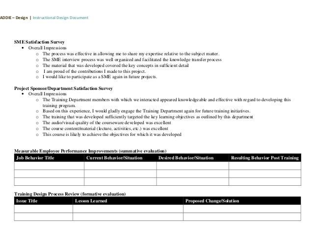 ISD / ADDIE Design Document Template