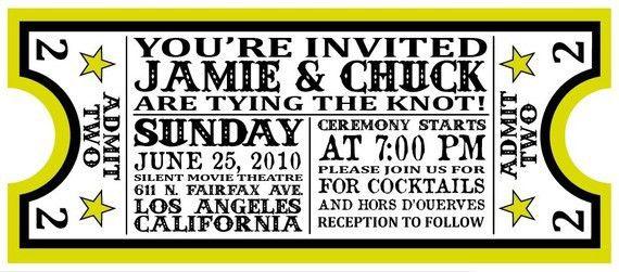 Concert Ticket Style Wedding Invitations - Popular Wedding ...
