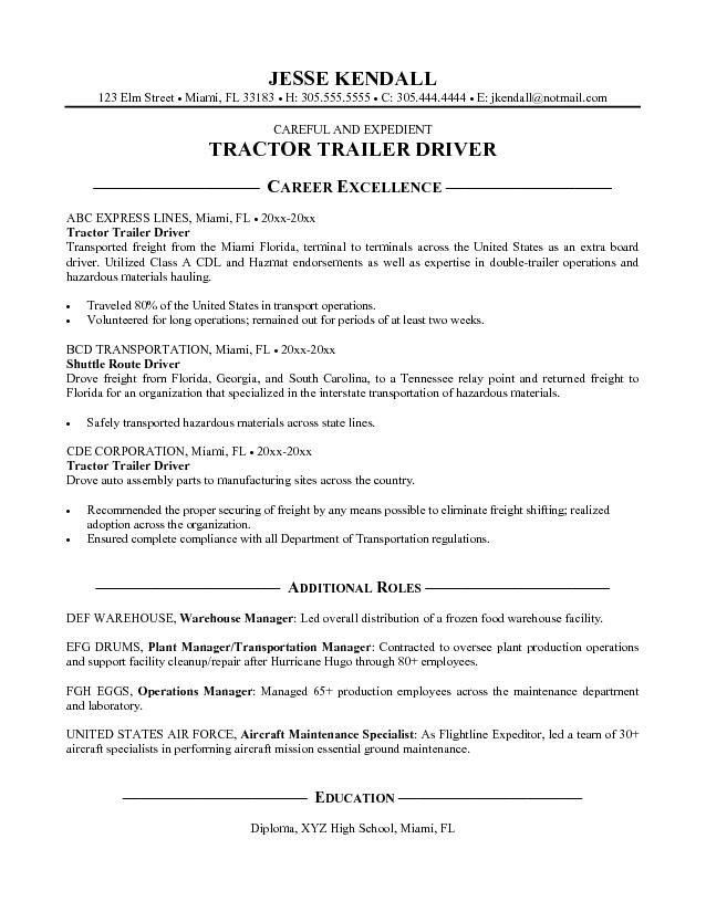 Tractor Trailer Driver Resume Sample Free Download : Vinodomia